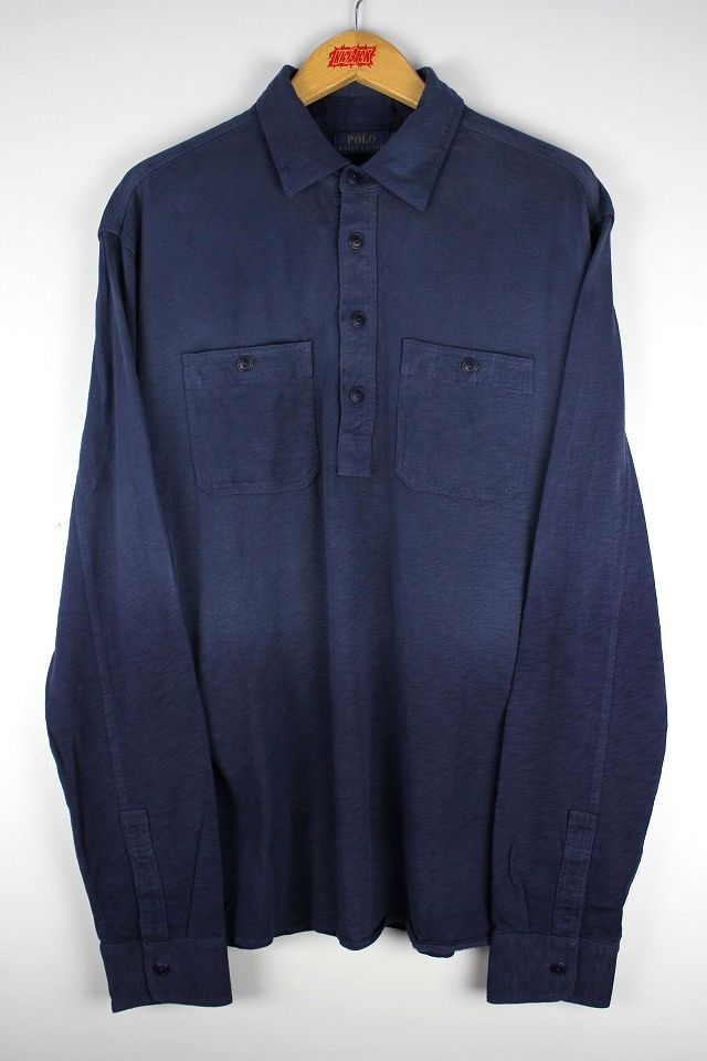 POLO RALPH LAUREN / SLUB COTTON PULLOVER WORKSHIRTS / navy