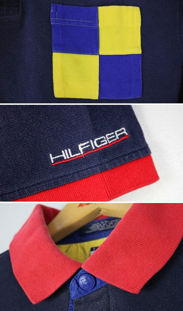 USED!!! TOMMY HILFIGER / PATCHWORK POCKET POLO SHIRTS / navy