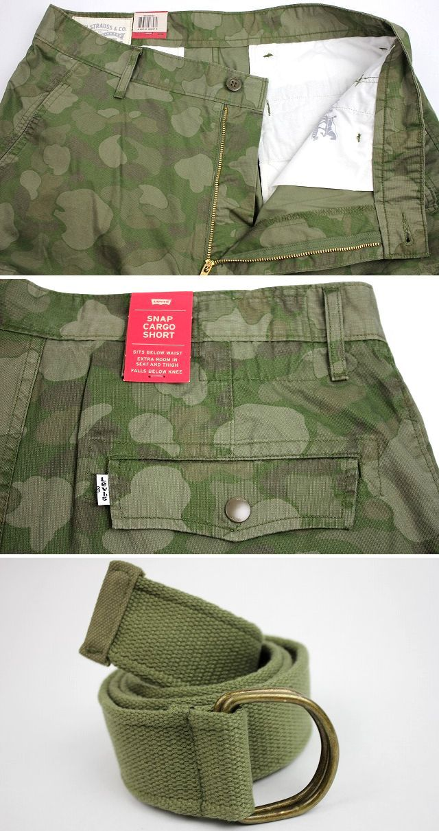 LEVI'S / DUCK CAMO CARGO SHORTS / green