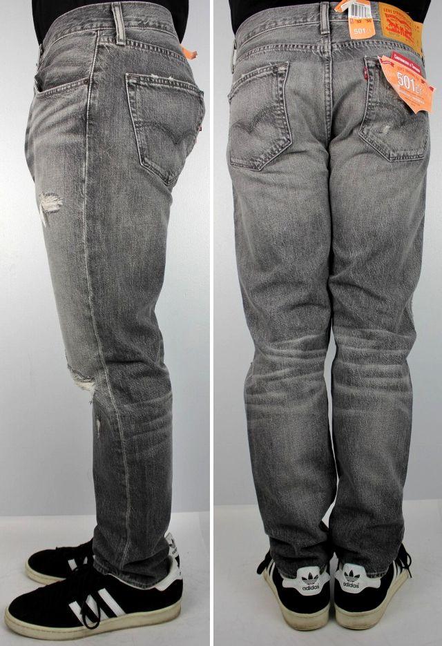 LEVI'S / 501 CUSTOMIZED TAPERED CRUSH DENIM PANTS / vintage wash black indigo