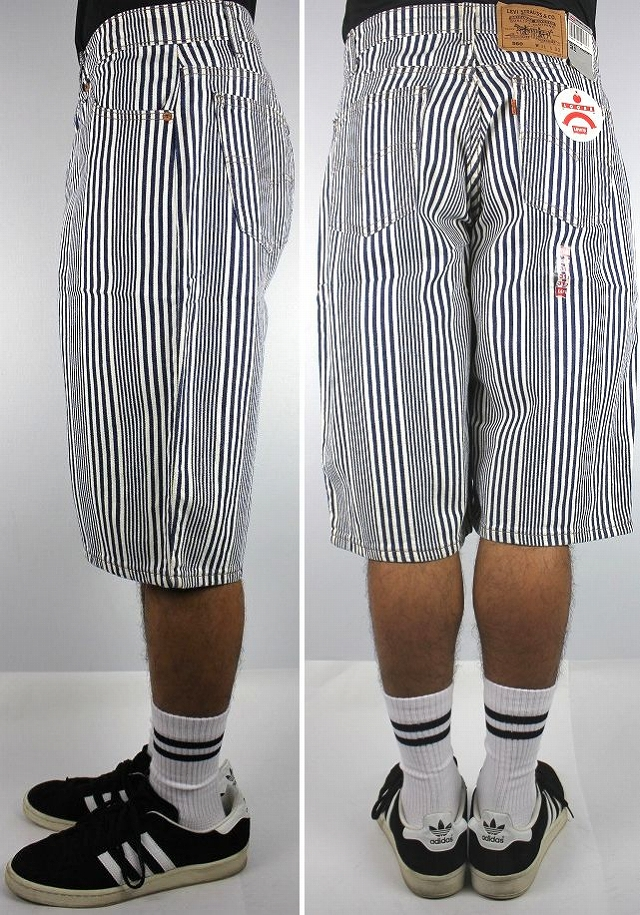 DEADSTOCK!!! LEVI'S / 560 STRIPE SHORTS (90'S) / white×navy