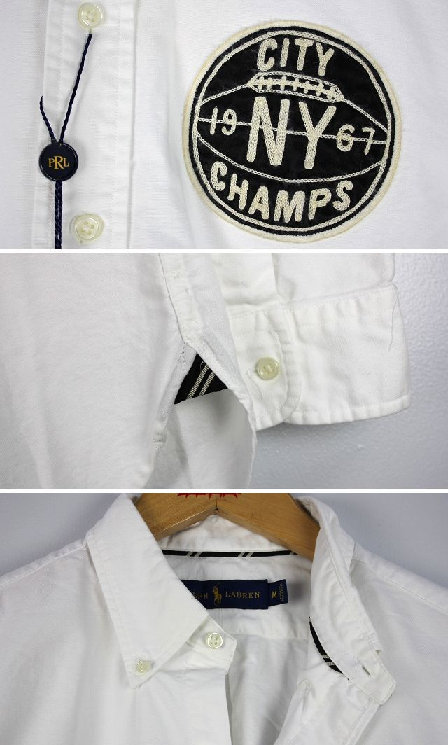 POLO RALPH LAUREN / NYC PATCH COTTON OXFORD BUTTON-DOWN SHIRTS / white