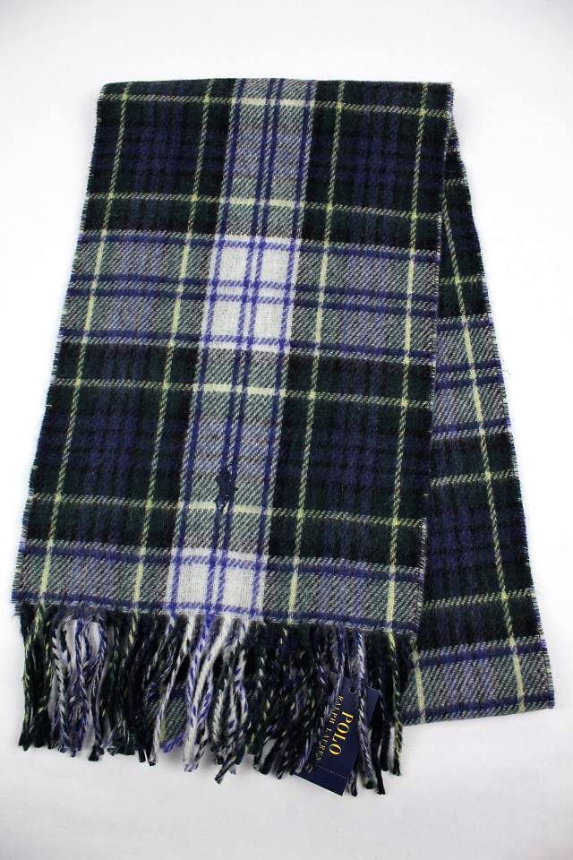 POLO RALPH LAUREN / VIRGIN WOOL MUFFLER / green×white tartan