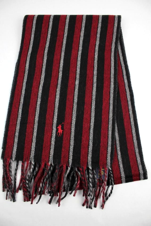 POLO RALPH LAUREN / VIRGIN WOOL MUFFLER / red×black stripe