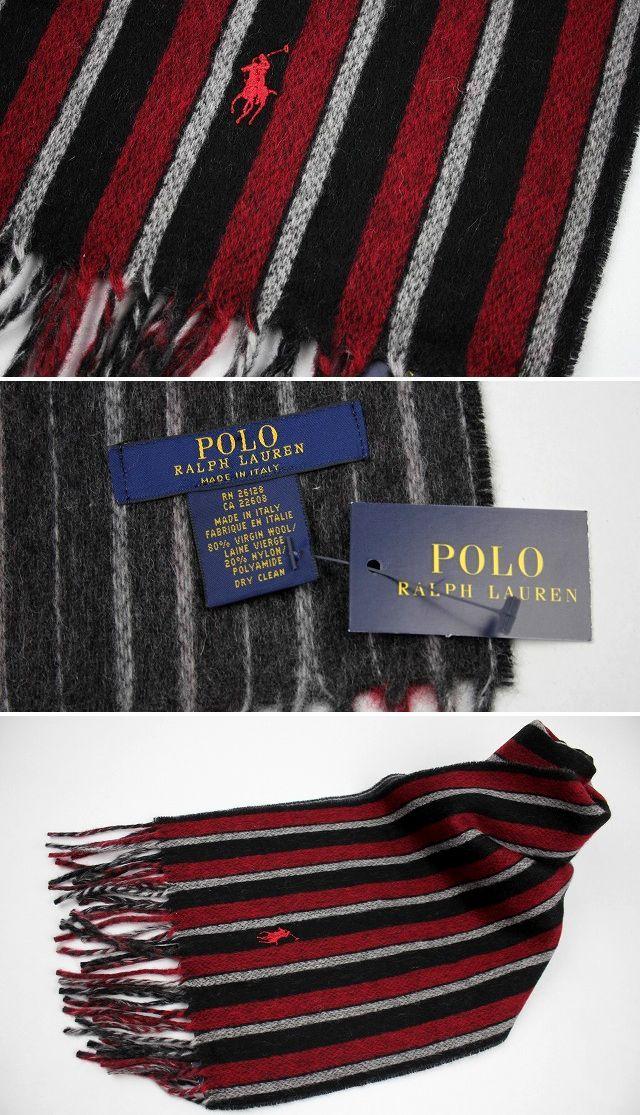 POLO RALPH LAUREN / VIRGIN WOOL MUFFLER / red×black stripe