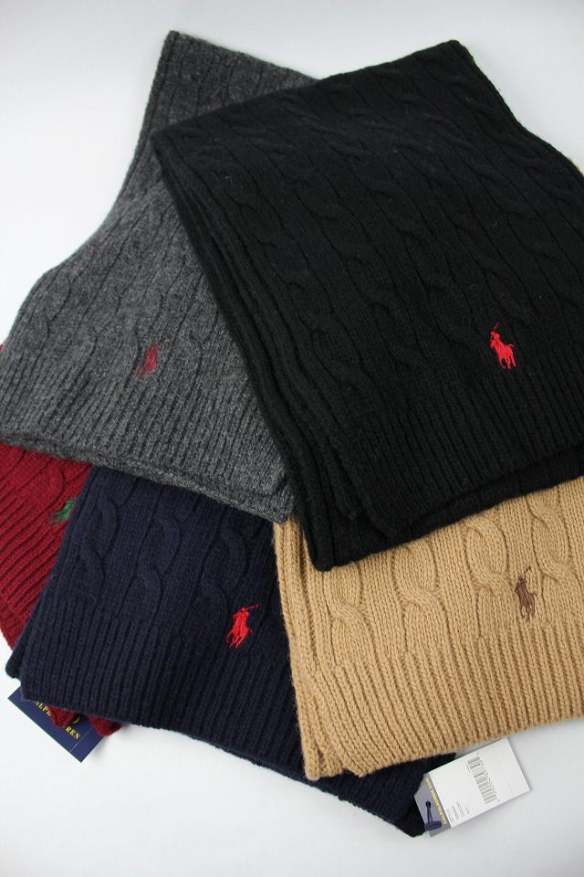 POLO RALPH LAUREN / CABLE KNIT LAMB WOOL MUFFLER