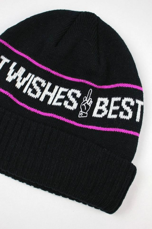 "GOOD WORTH&CO. / ""BEST WISHES"" STRIPED CUFF BEANIE / black"