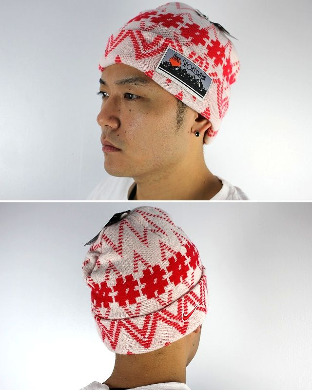 "NIKE / ""NORDIC PATTERN"" CUFF BEANIE / white×red"