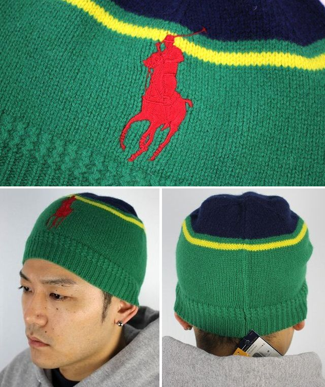 "POLO RALPH LAUREN / ""BIG PONY"" BEANIE / navy×green×yellow×red"