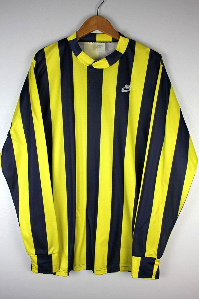 USED!!! NIKE / STRIPED LS SOCCER JERSEY (70'S) / yellow×navy