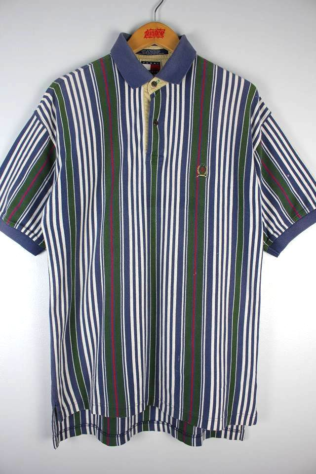 USED!!! TOMMY HILFIGER / STRIPE POLO SHIRTS (90'S)