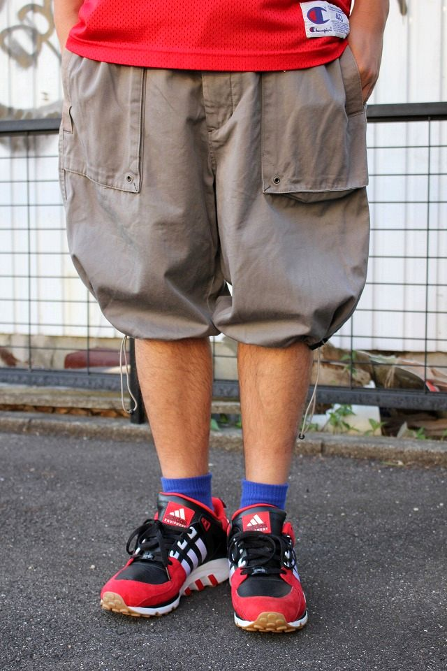 USED!!! TRIPLE FIVE SOUL / MILITARY SHORTS / chacoal