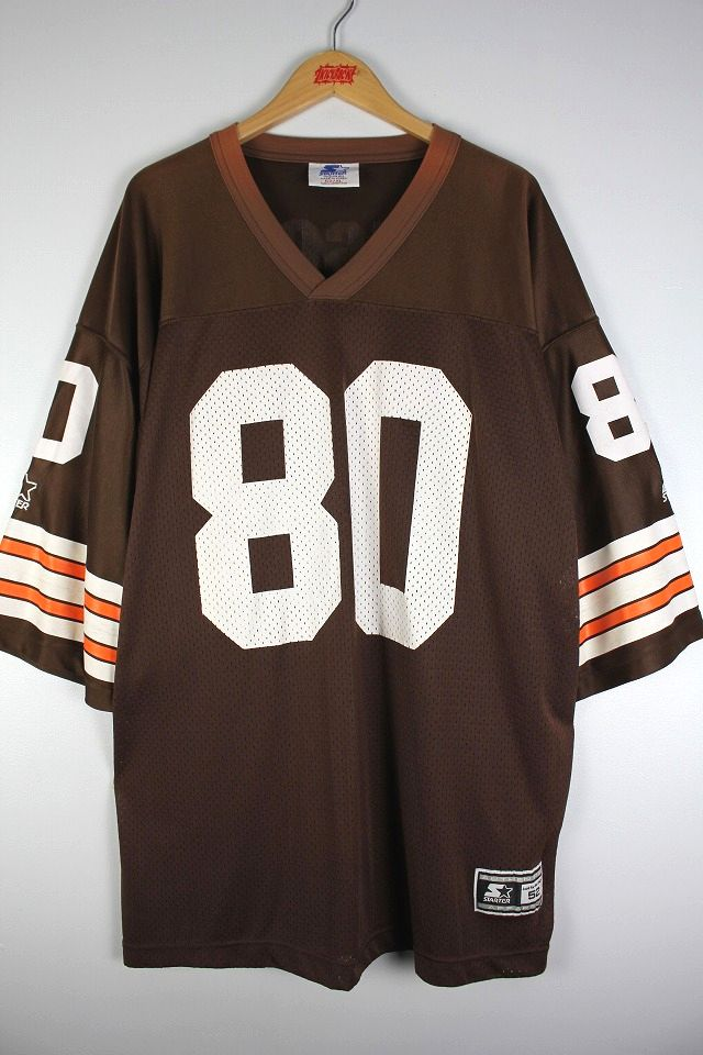 "USED!!! NIKE / ""CLEAVELAND BROWNS"" FOOTBALL JERSEY (90'S) / brown×white×orange"