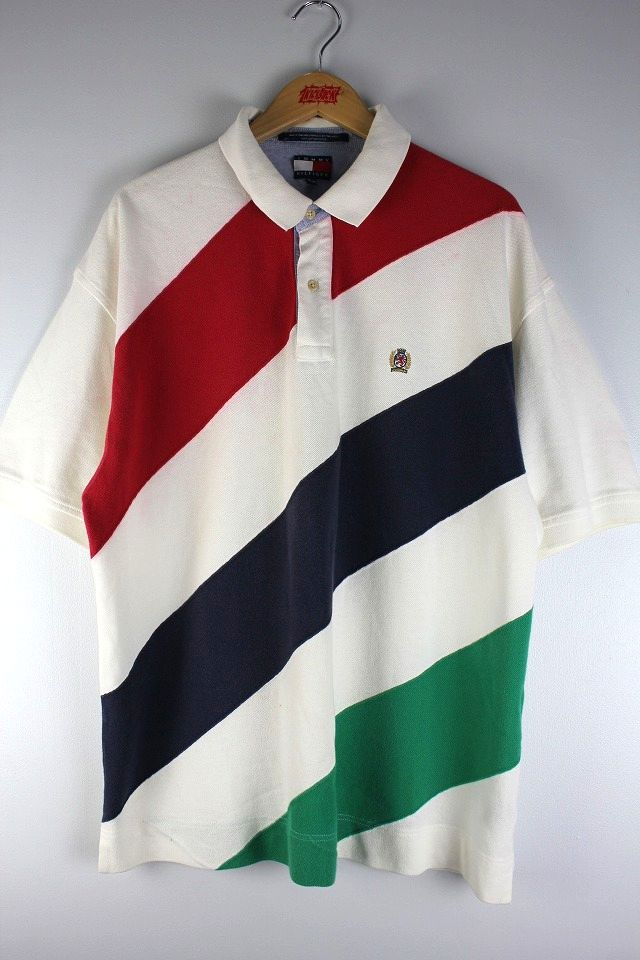 USED!!! TOMMY HILFIGER / BORDER POLO SHIRTS (90'S) / white×red×navy×green
