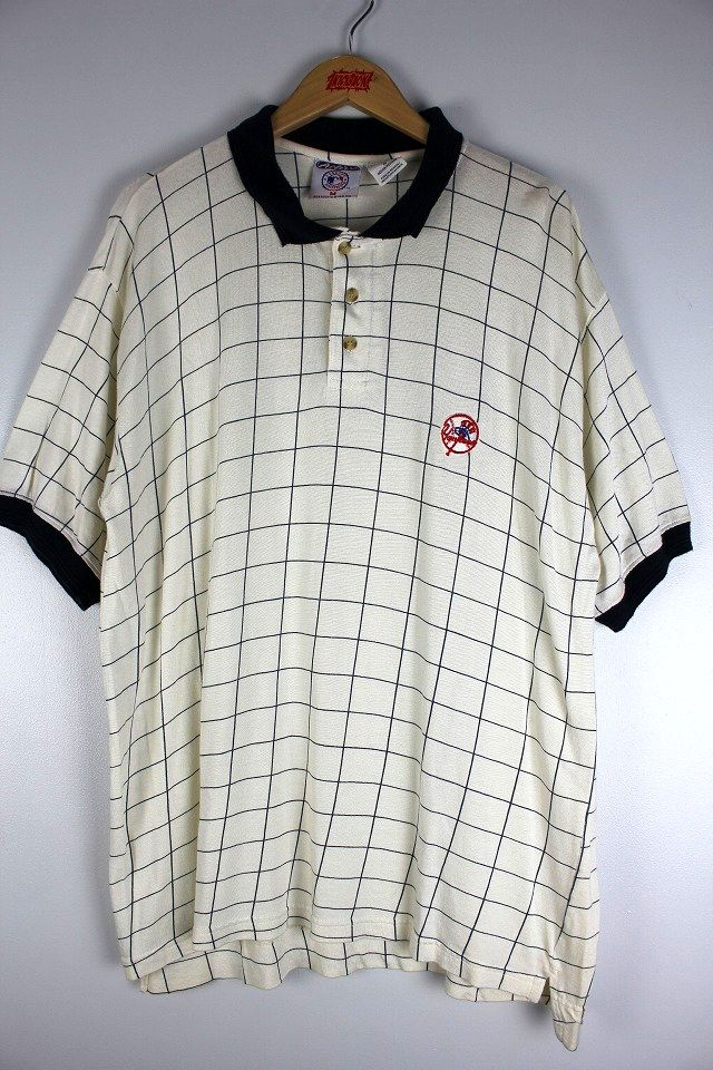 USED!!! NEWYORK YANKEES / PLAID POLO SHIRTS (90'S) / off white×navy