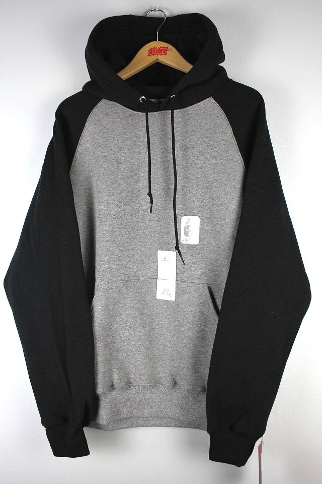 RUSSEL ATHLETIC / COLORBLOCK RAGLAN PULLOVER HOODY / heather grey×black