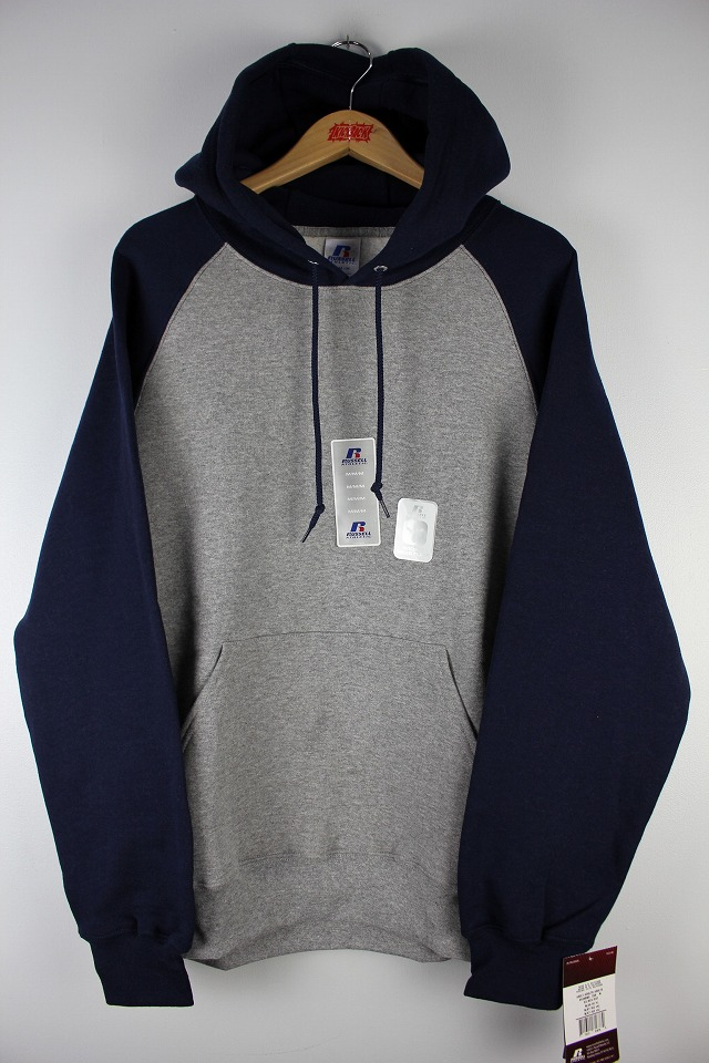 RUSSEL ATHLETIC / COLORBLOCK RAGLAN PULLOVER HOODY / heather grey×navy