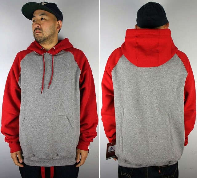 RUSSEL ATHLETIC / COLORBLOCK RAGLAN PULLOVER HOODY / heather grey×red
