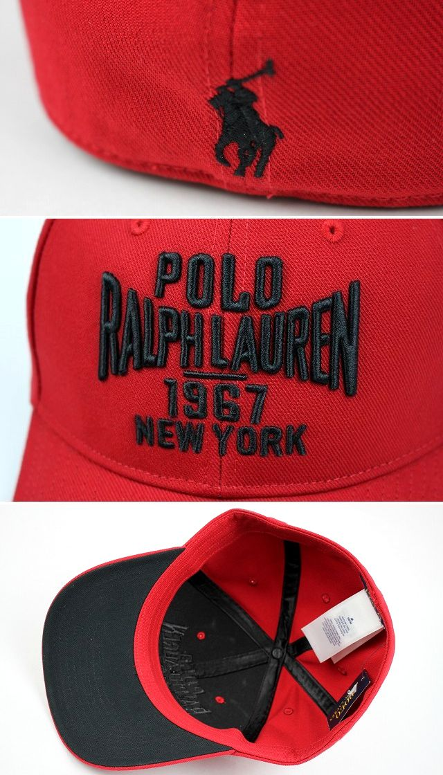 "POLO RALPH LAUREN / ""1967 NEWYORK"" ROUND VISOR CAP / red×black"