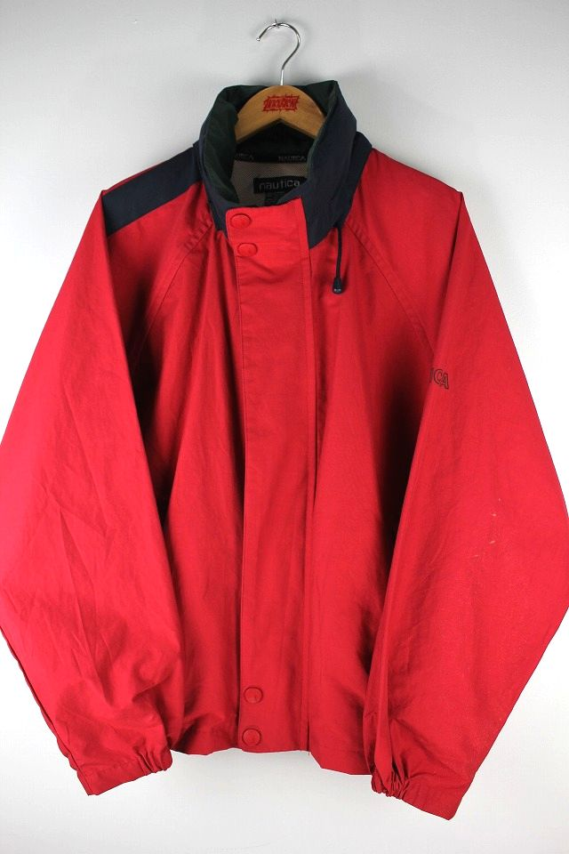 USED!!! NAUTICA / SAILING JACKET (90'S) / red×navy×green