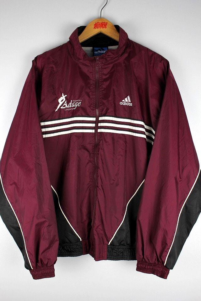USED!!! adidas / NYLON WINDBREAKER (90'S) / burgundy×white×black