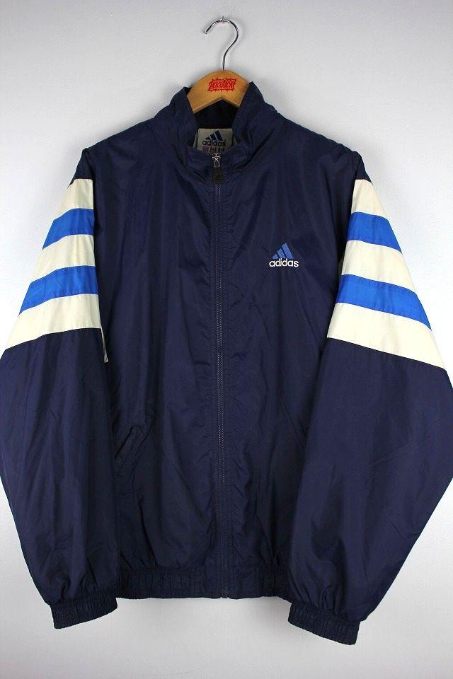 USED!!! adidas / NYLON WINDBREAKER (90'S) / navy×white×blue