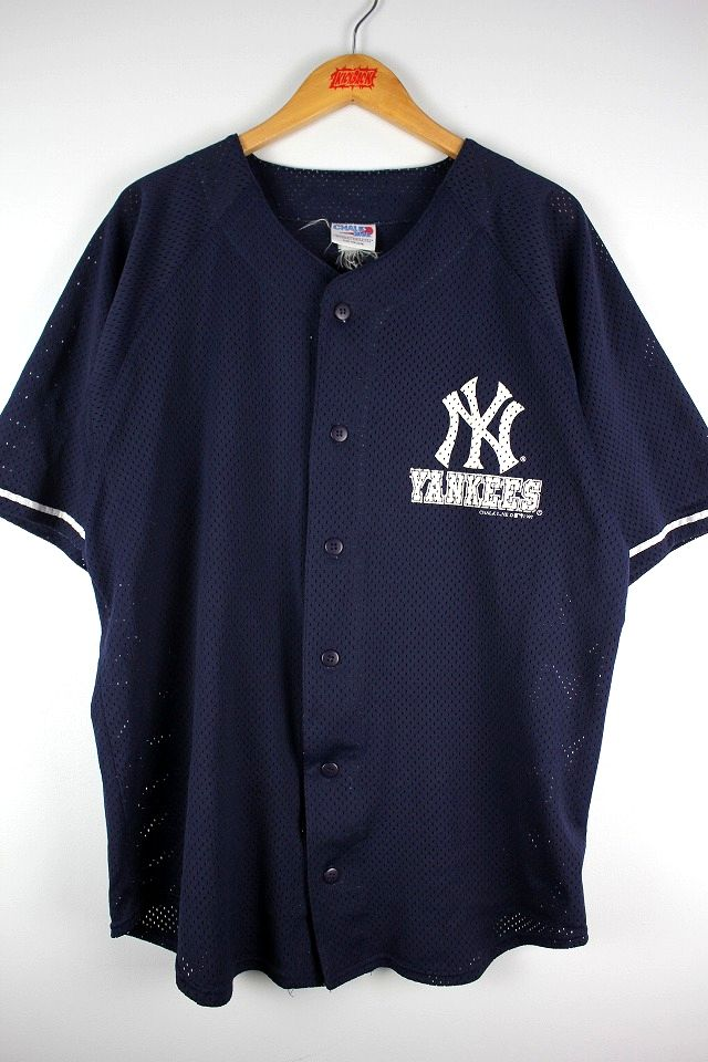 "USED!!! CHALK LINE / ""NEWYORK YANKEES"" MESH BASEBALL JERSEY (90'S) / navy×white"