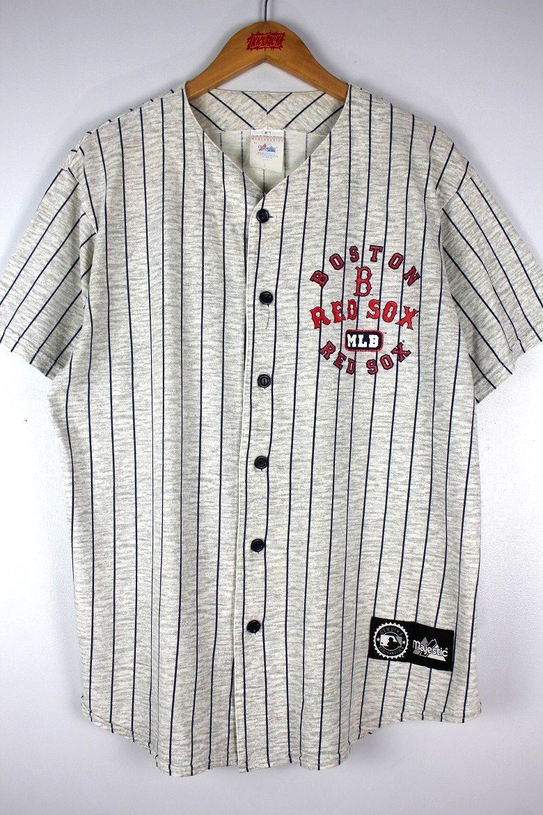 "USED!!! MAJESTIC / ""BOSTON RED SOX"" STRIPED BASEBALL JERSEY (90'S) / light heather grey×navy"