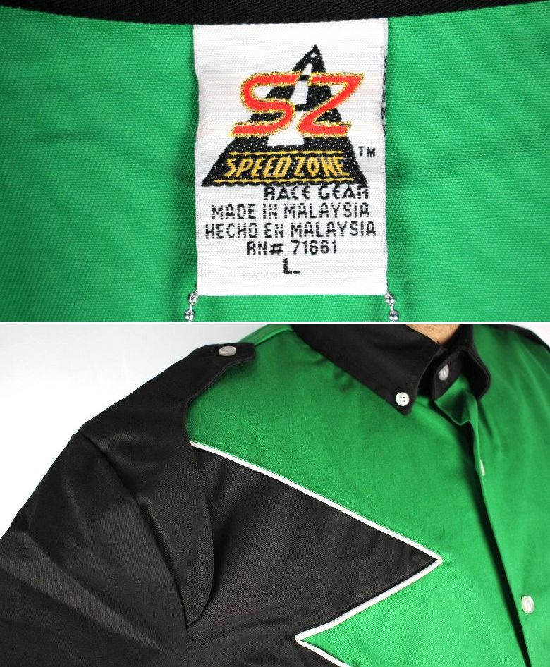 "SPEED ZONE by HILTON / ""SPOILER"" SS RACING SHIRTS / green×black"