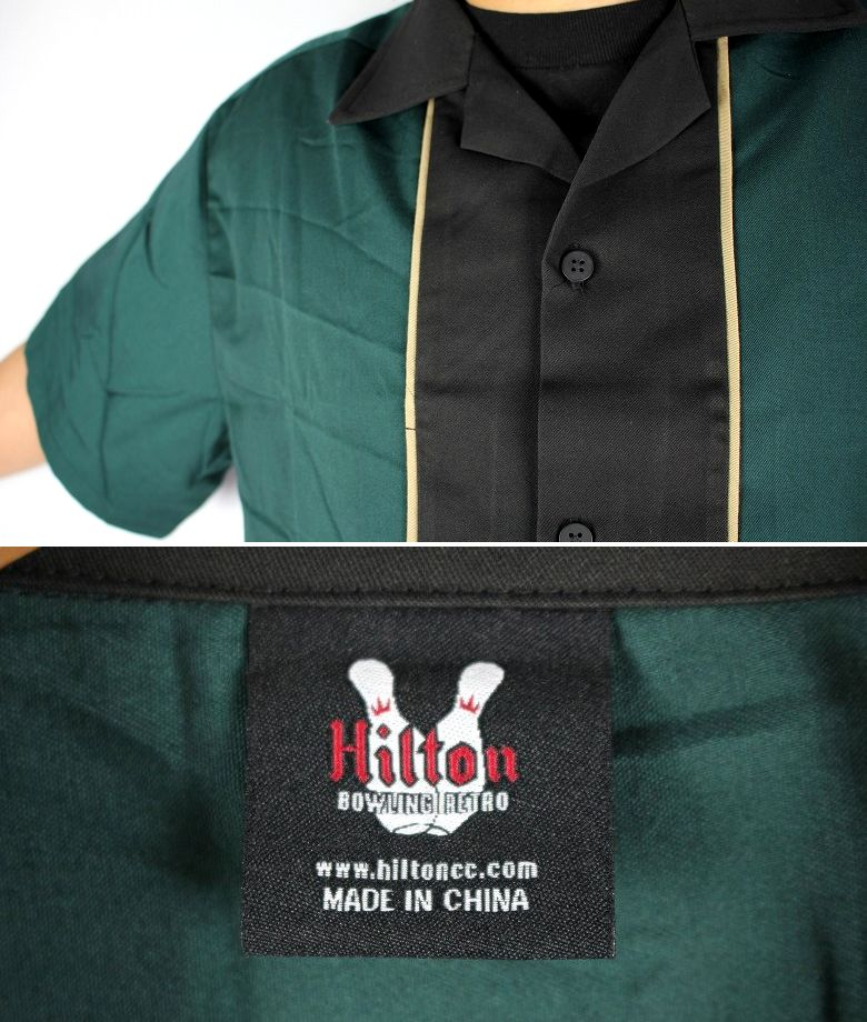 "HILTON / ""QUEST"" BOWLING SHIRTS / dark green×black"