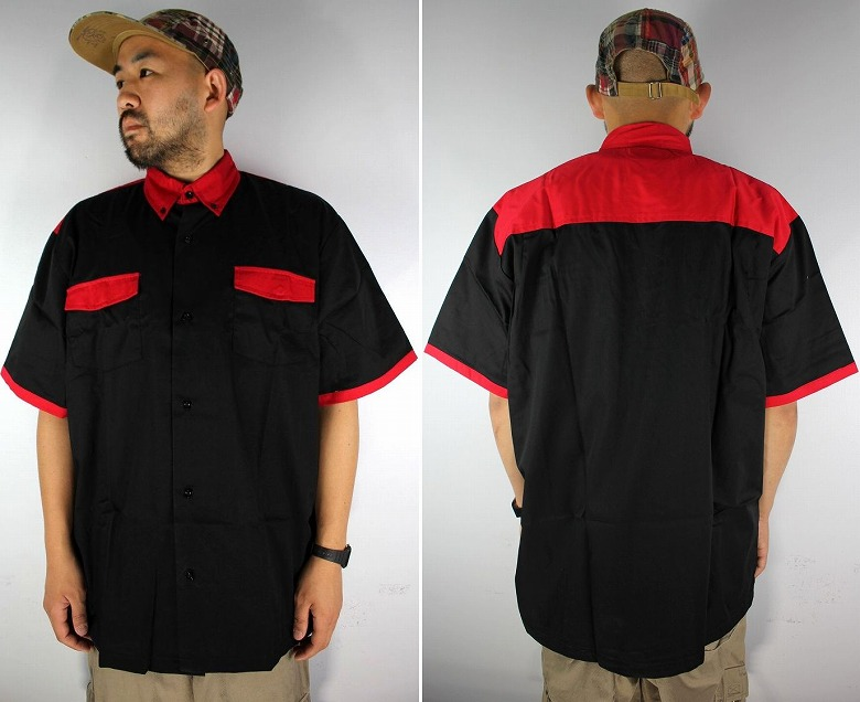 "HILTON / ""BRISTOL"" BOWLING SHIRTS / black×red"