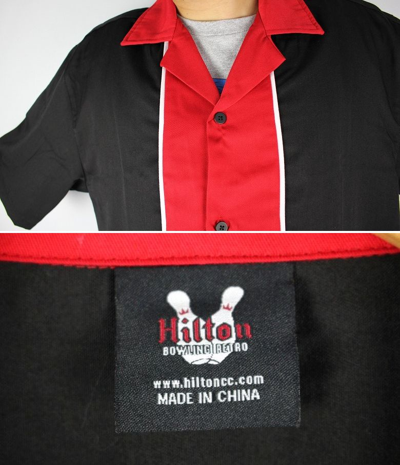"HILTON / ""QUEST"" BOWLING SHIRTS / black×red"