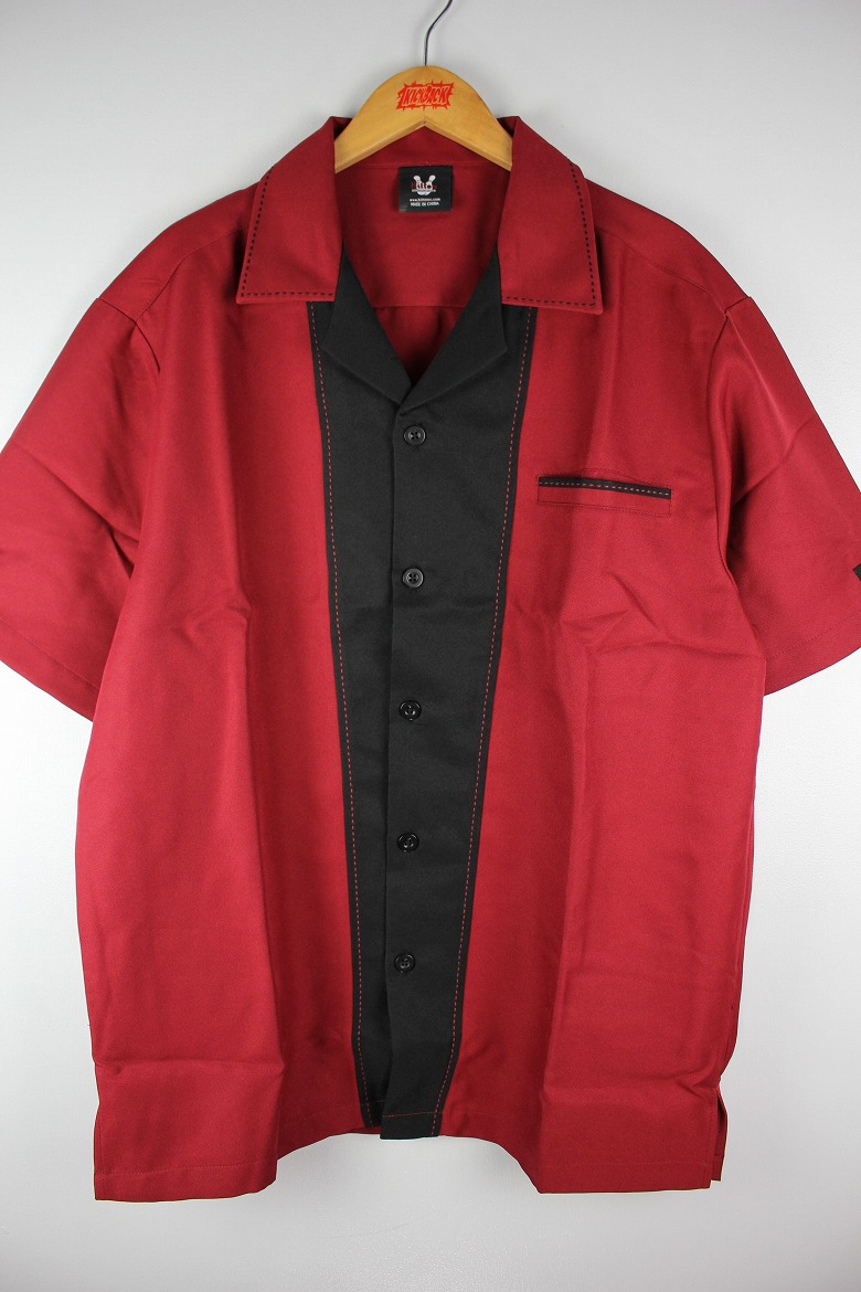"HILTON / ""MONTEREY"" BOWLING SHIRTS / wine red×black"