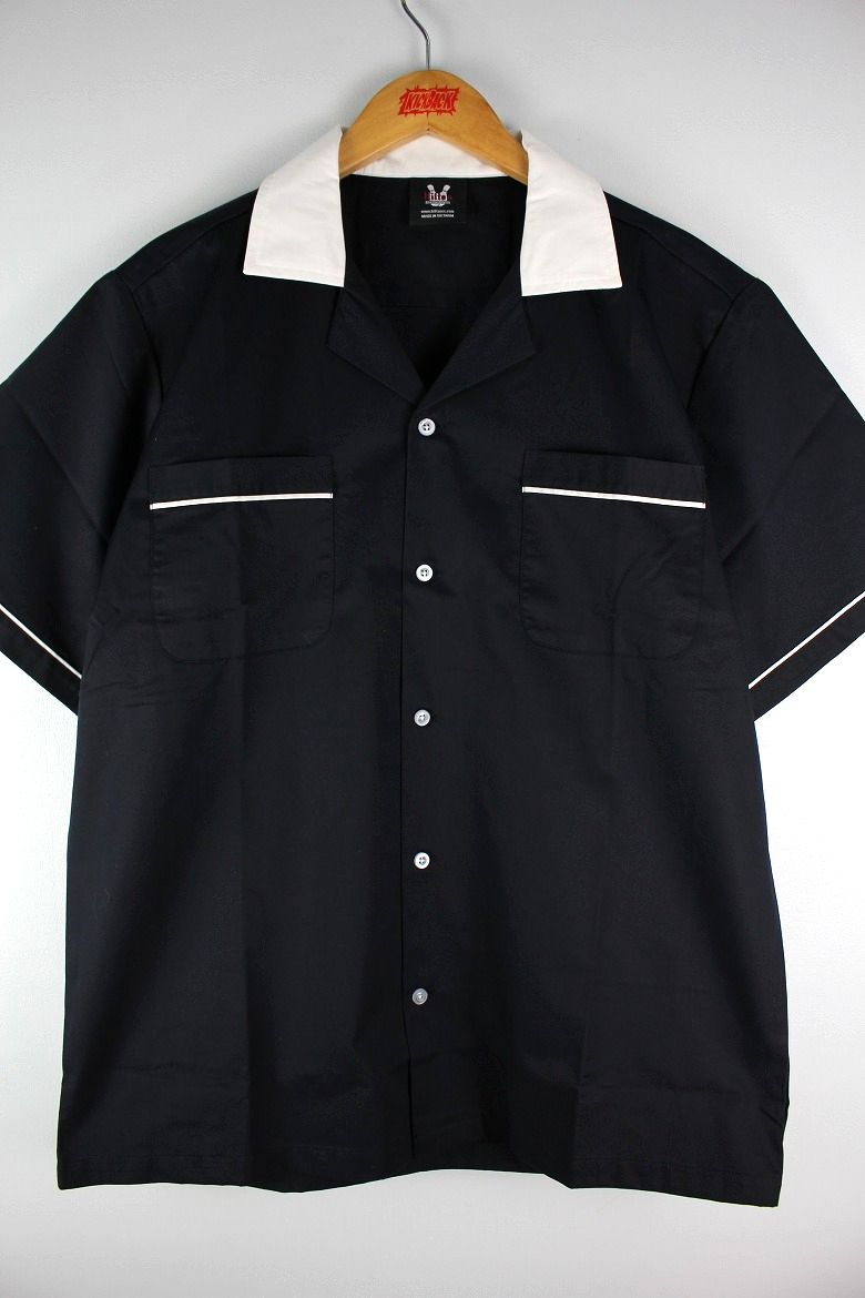 "HILTON / ""GM LEGENDS"" BOWLING SHIRTS / black×white"