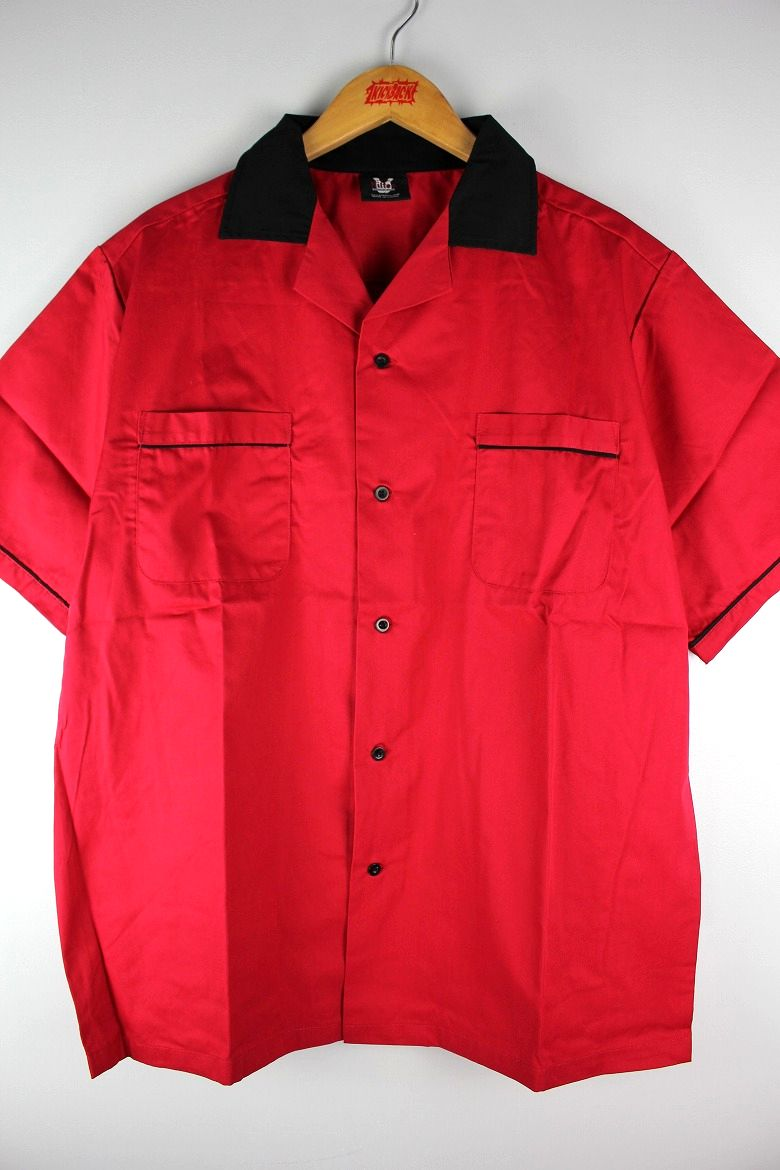 "HILTON / ""GM LEGENDS"" BOWLING SHIRTS / red×black"
