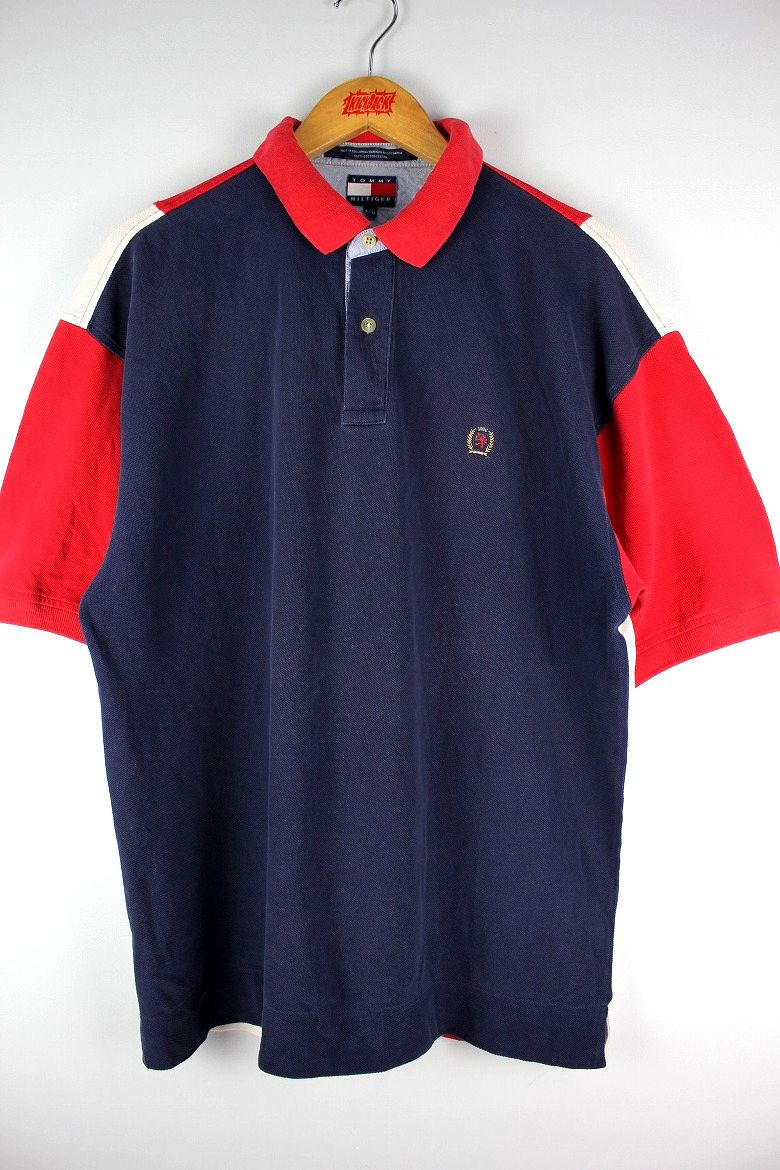 USED!!! TOMMY HILFIGER / COLOR BLOCK POLO SHIRTS (90'S) / navy×red×white
