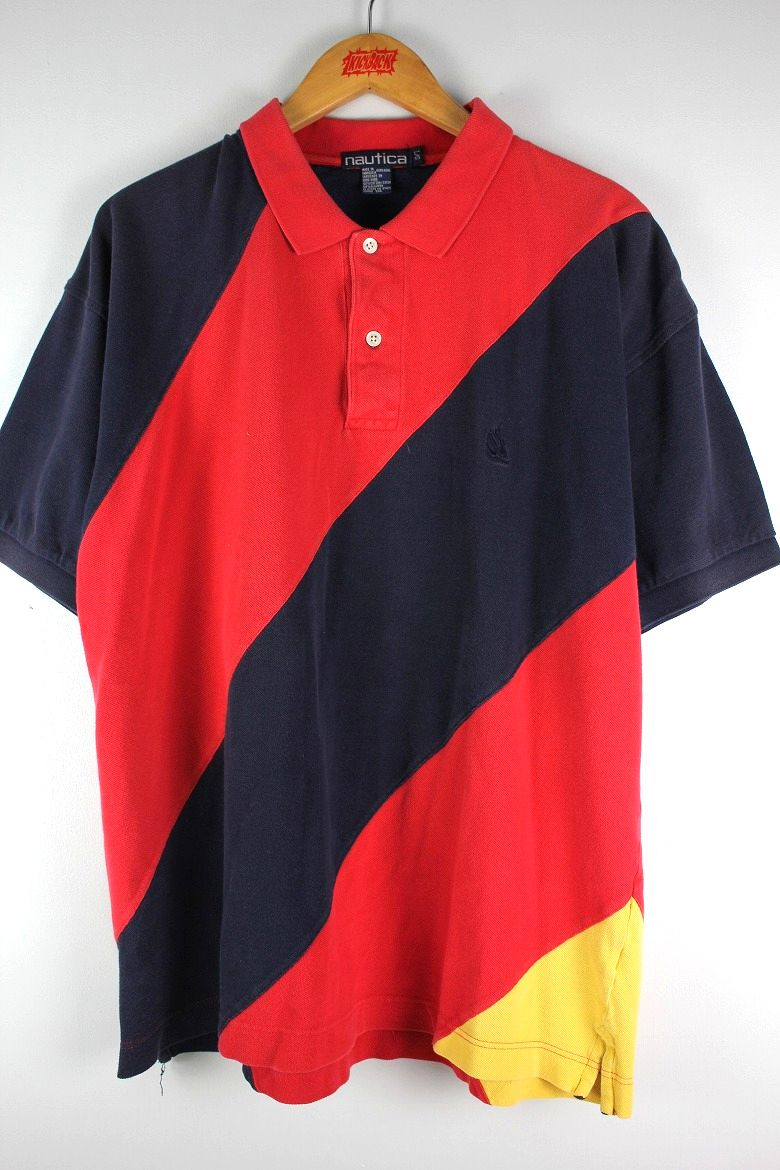 USED!!! NAUTICA / COLOR BLOCK POLO SHIRTS (90'S) / red×navy×yellow