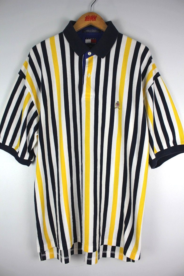 USED!!! TOMMY HILFIGER / STRIPED POLO SHIRTS (90'S) / navy×white×yellow