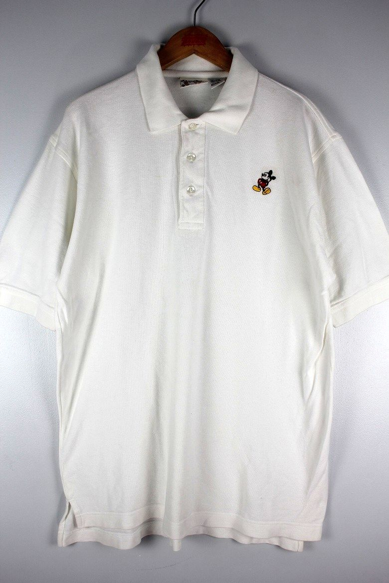 "USED!!! WALT DISNEY OFFICIAL / ""MICKEY"" POLO SHIRTS (90'S) / white"