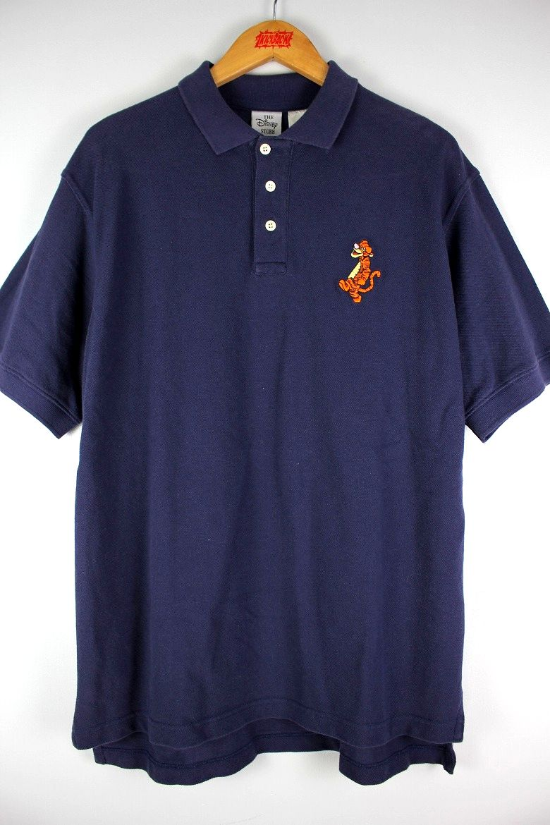 "USED!!! WALT DISNEY OFFICIAL / ""TIGGER"" POLO SHIRTS (90'S) / navy"