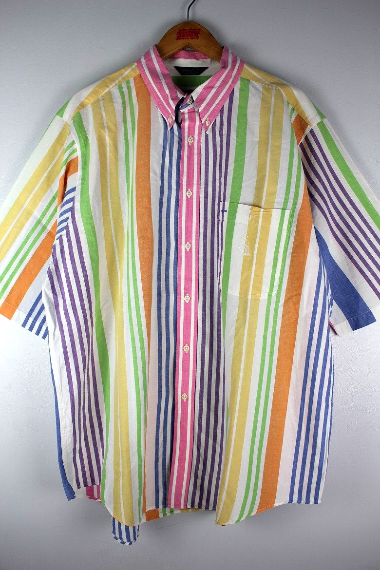 USED!!! NAUTICA / STRIPED SS BUTTON DOWN SHIRTS (90'S) / multi color