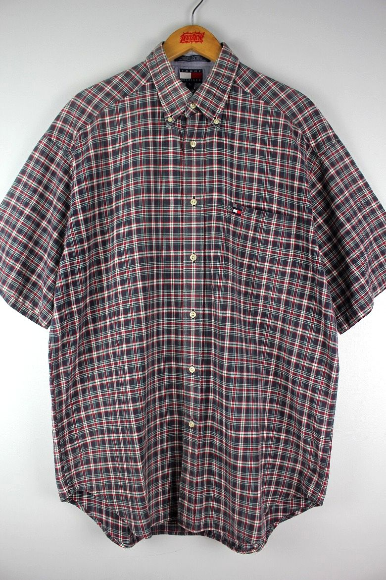 USED!!! TOMMY HILFIGER / PLAID SS BUTTON DOWN SHIRTS (90'S)