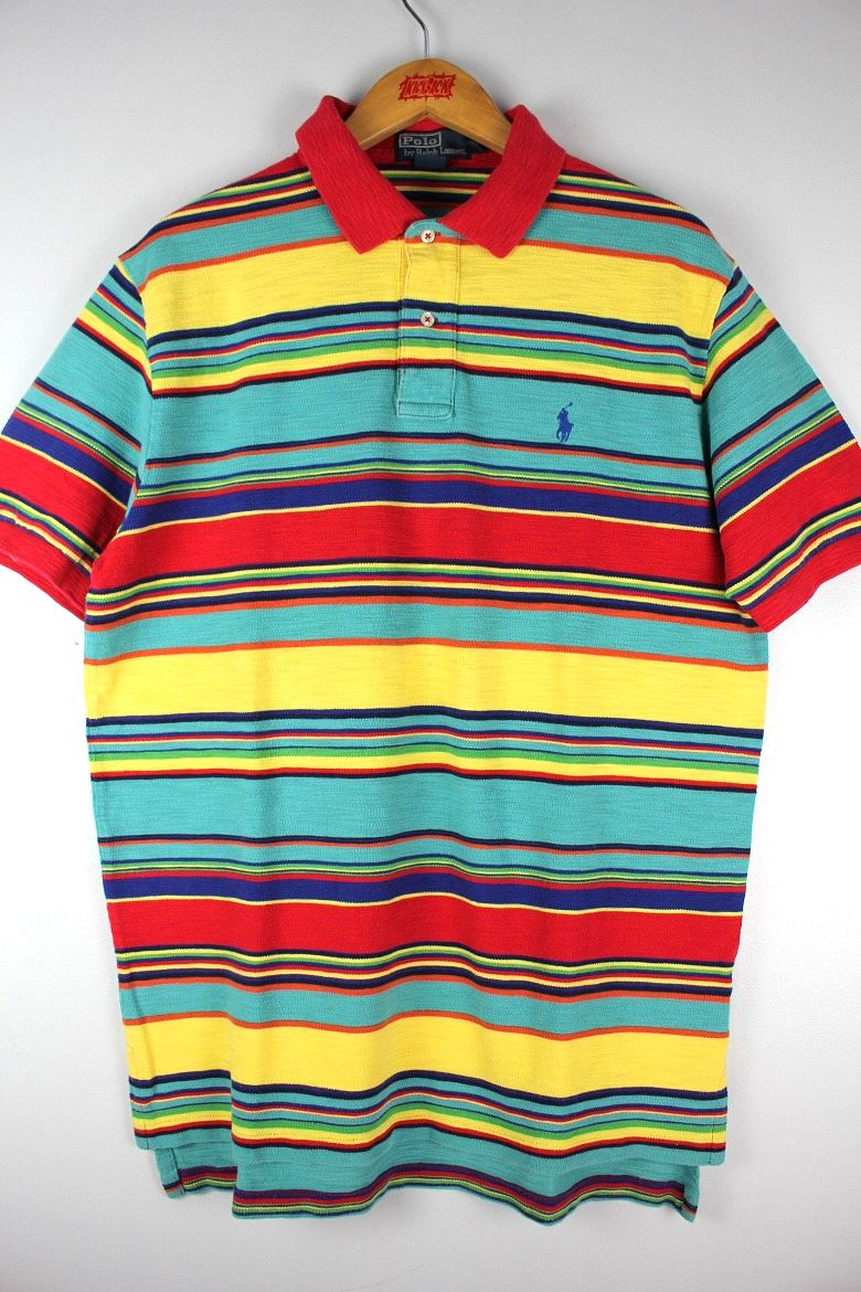 USED!!! POLO RALPH LAUREN / BORDER WAFFLE POLO SHIRTS (00'S) / multi-color