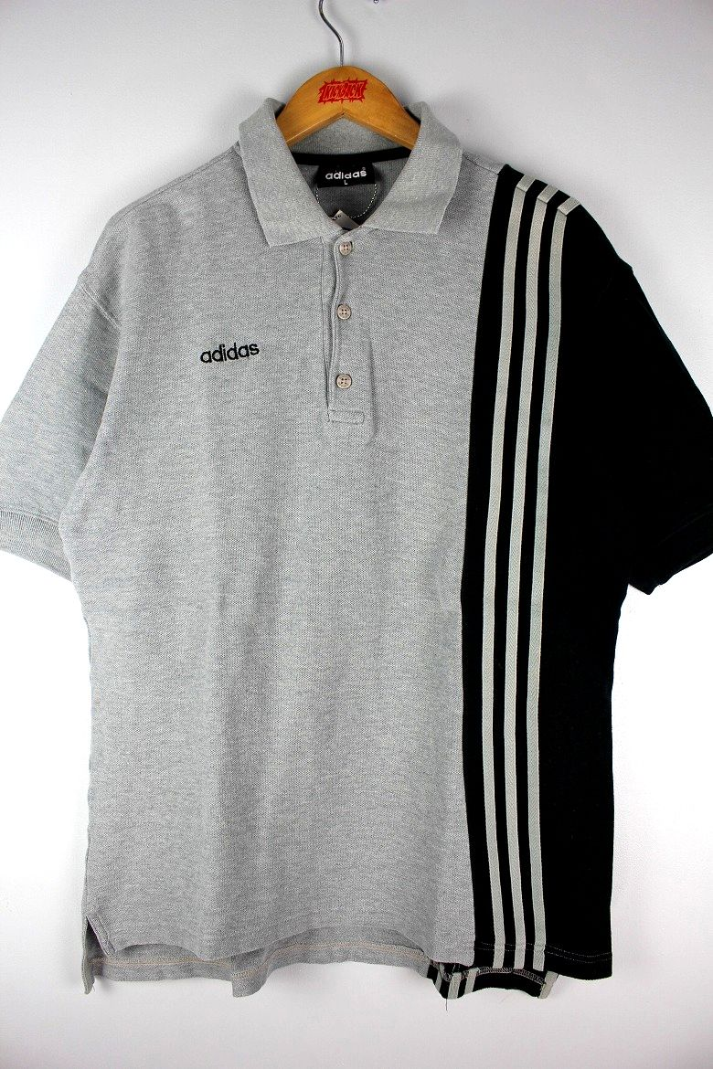 USED!!! adidas / 3-STRIPE POLO SHIRTS (90'S) / grey×black