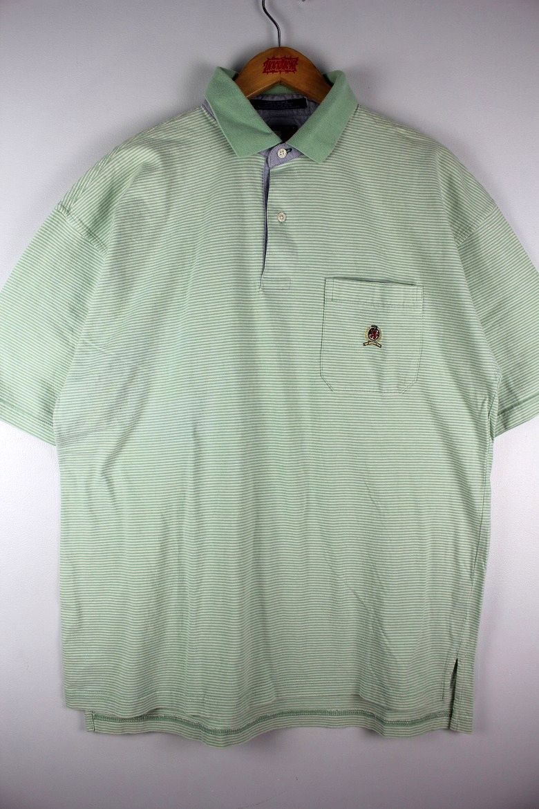 USED!!! TOMMY HILFIGER / BORDER POLO SHIRTS (90'S) / light green×white