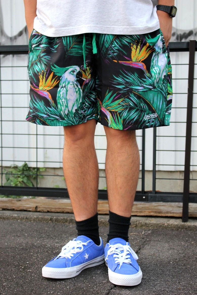"GOOD WORTH&CO. / ""TOUCAN GRAM"" EASY SHORTS / black"