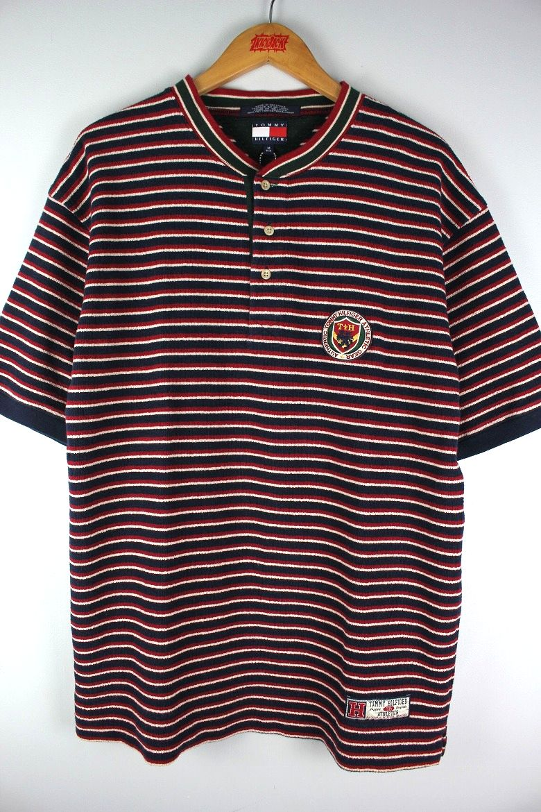 USED!!! TOMMY HILFIGER / BORDER HENLY NECK Tee (90'S) / navy×red×white×green