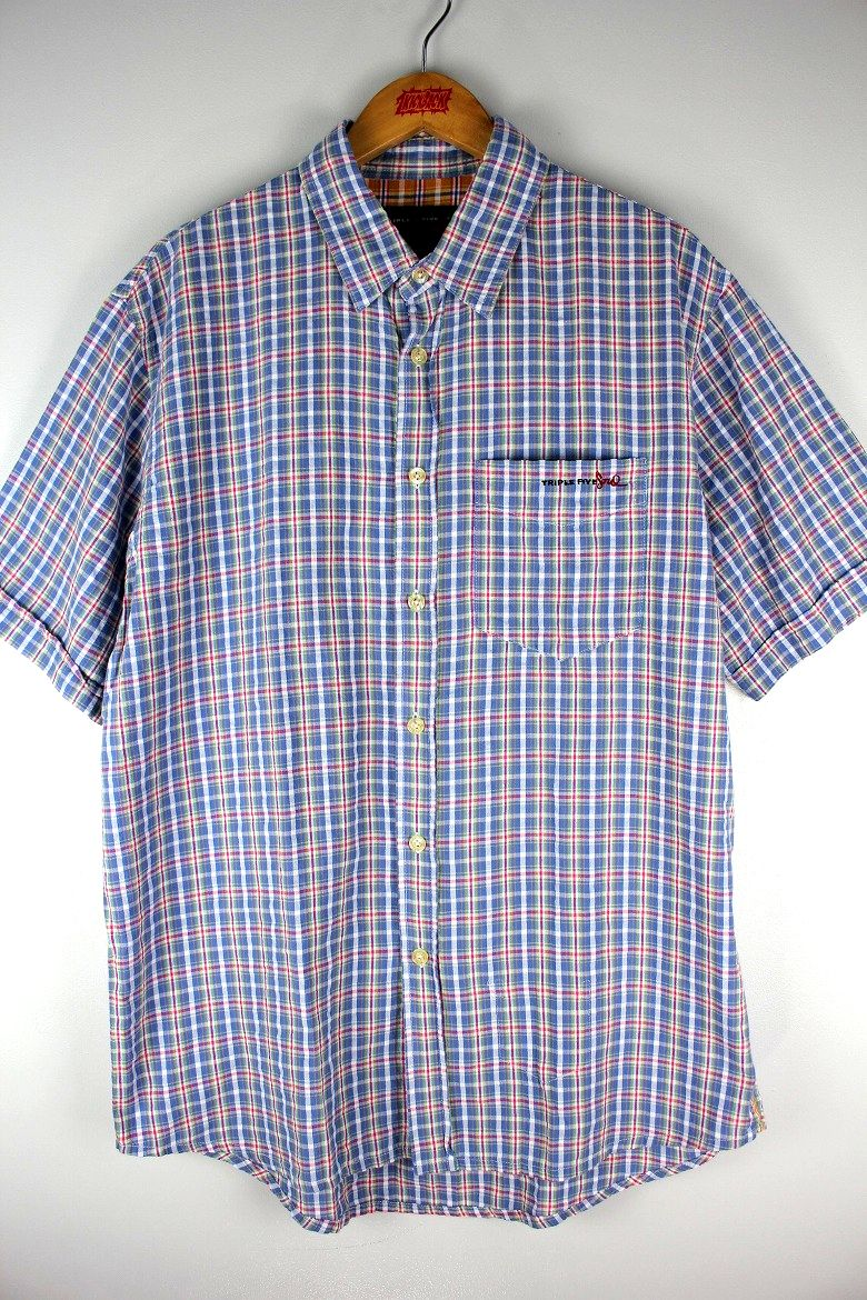 USED!!! TRIPLE FIVE SOUL / PLAID SS SHIRTS (90'S) / light blue×white×pink