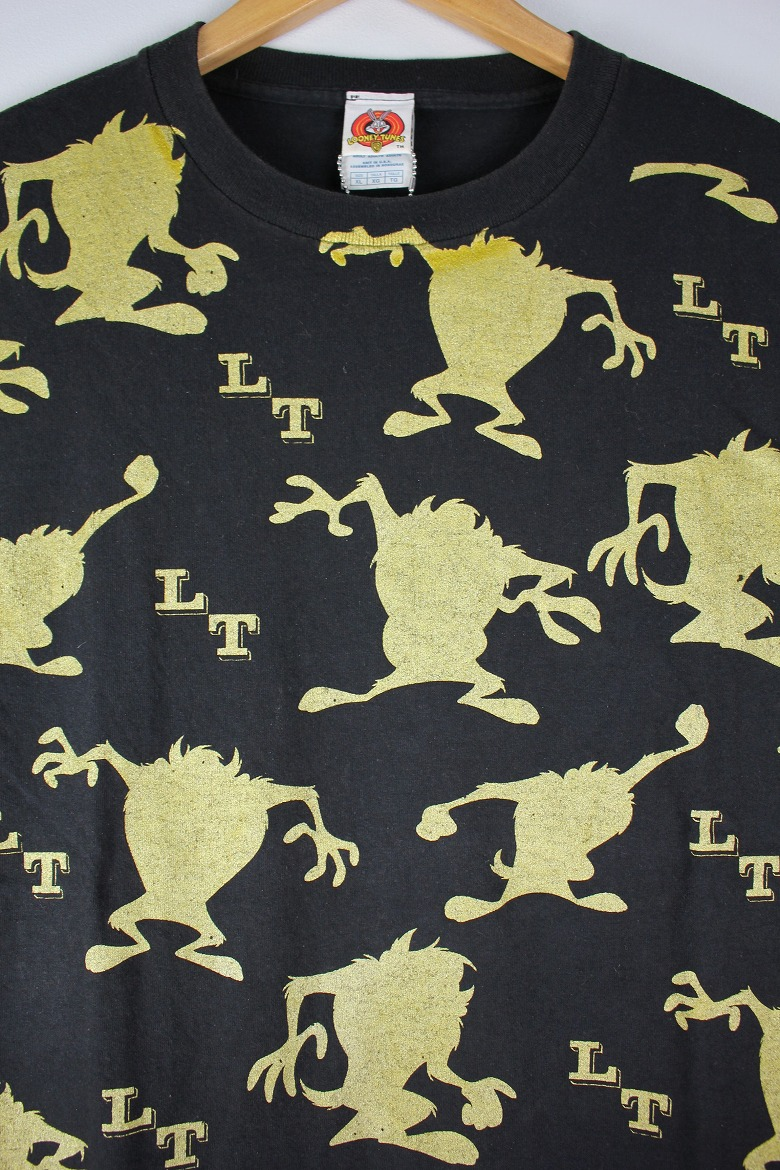 """USED!!! LOONEY TUNES / """"TAZ"""" ALL OVER PRINT Tee (90'S) / black×gold"""