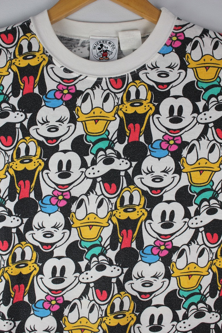 USED!!! MICKEY&CO. / ALL OVER PRINT Tee (90'S) / white